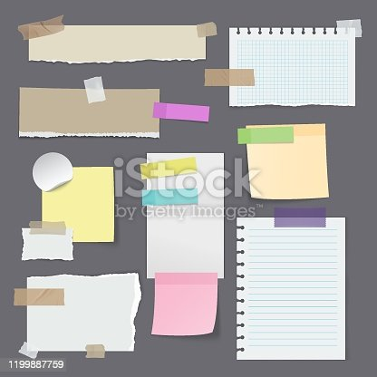 Set of isolated paper stickers or sticky note, yellow memo with tape, blank office reminder, notepaper background. Task list and attached message, plan and text, stick and mark, bookmark theme
