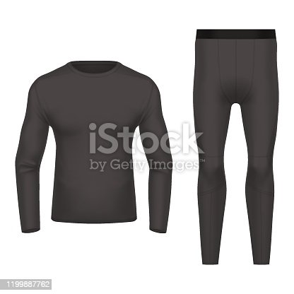 3d or realistic thermal wear front and back view. Black clothing for winter, warm shirt and pants. Blank or empty closeup of sportswear. Ski apparel mockup. Man or woman, men or women underwear