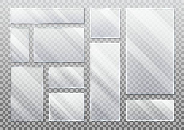 Basic RGB Set of realistic glass plate on transparent, glassware plaque background in rectangle, square form. Acrylic texture for smartphone display or screen, tablet protection. White inscription element glass material stock illustrations