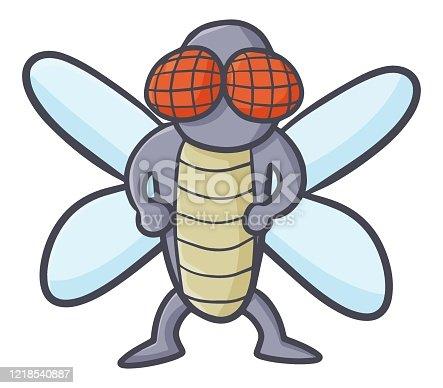 Cute and funny flies standing like hero