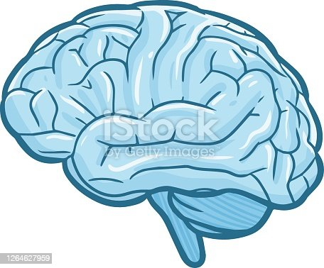 Funny and cool blue brain in simple cartoon style