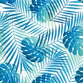 Summer gradient tropical palm tree leaves seamless pattern. Vector grunge design for cards, wallpapers, backgrounds and natural product.