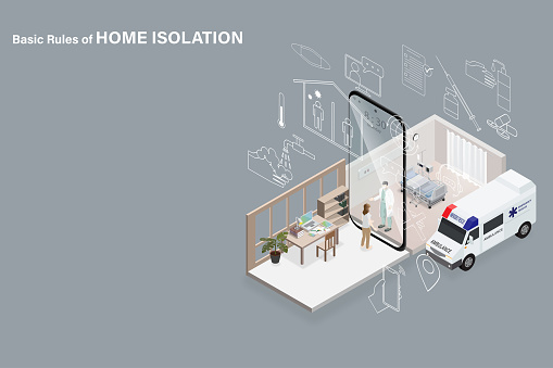 Basic rules of home isolation concept when diagnosed as infected with corona virus is to self isolate at home by separating room between infected and uninfected people along with strictly following advice of doctor presented by smartphone hospital and hom