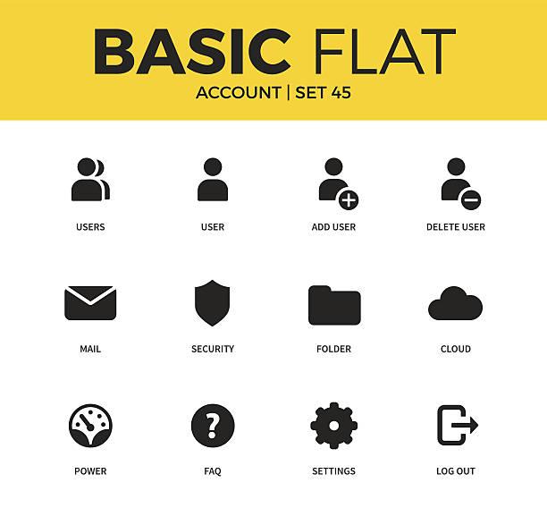 Basic set of Account icons vector art illustration