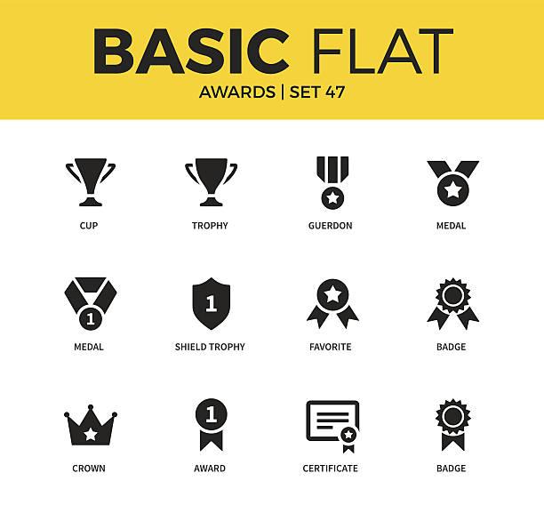 Basic set of Awards icons vector art illustration