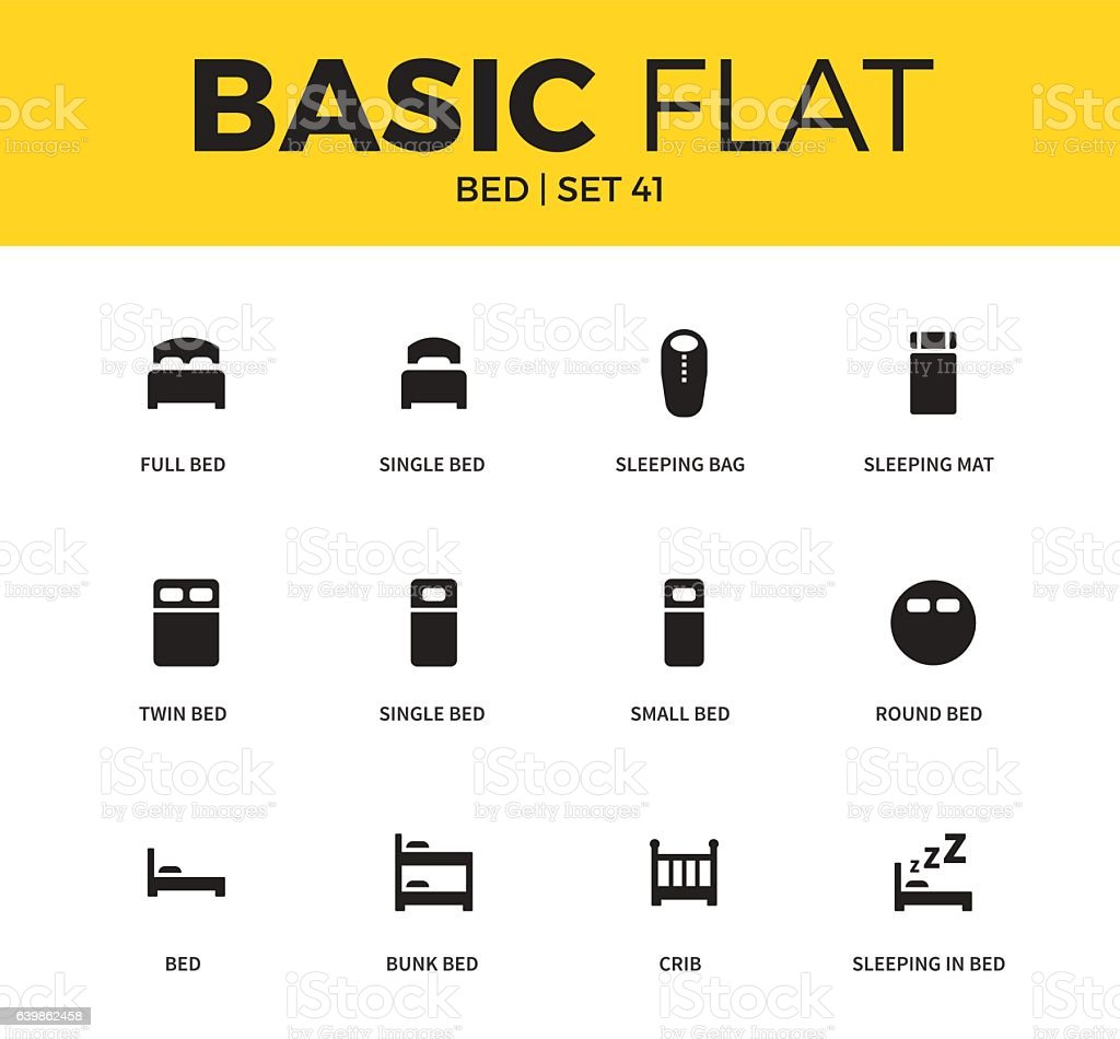 Basic set of bed icons vector art illustration