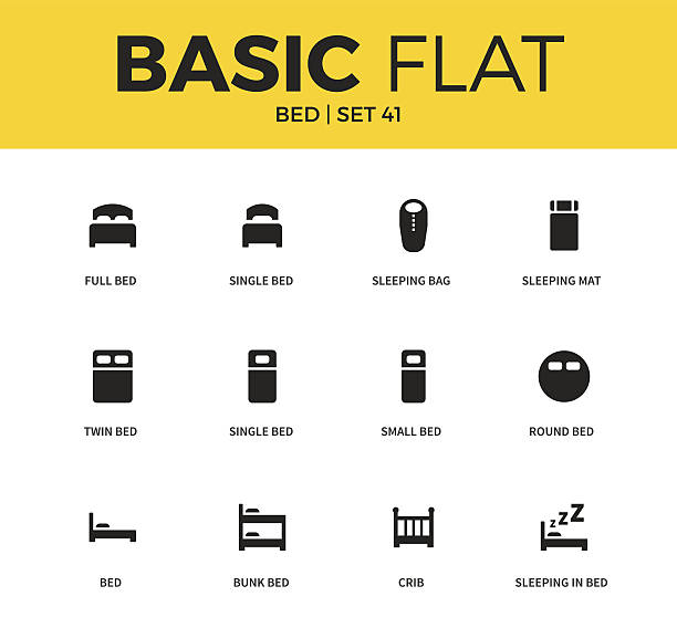Basic set of bed icons Basic set of single bed form, sleeping bag form, sleeping mat icons. Modern flat pictogram collection. Vector material design concept, web symbols and logo concept. bedroom clipart stock illustrations