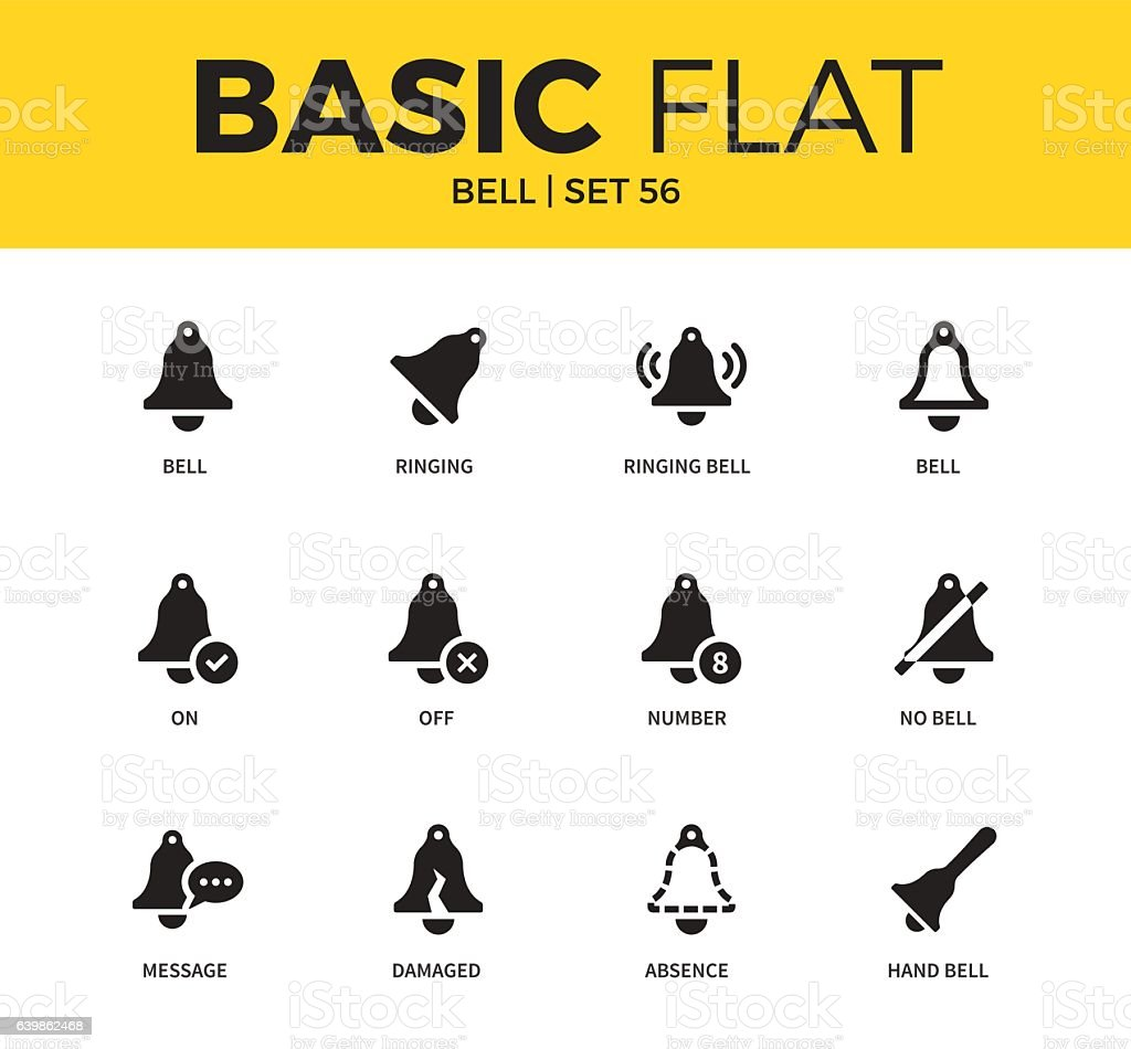 Basic set of bell icons vector art illustration
