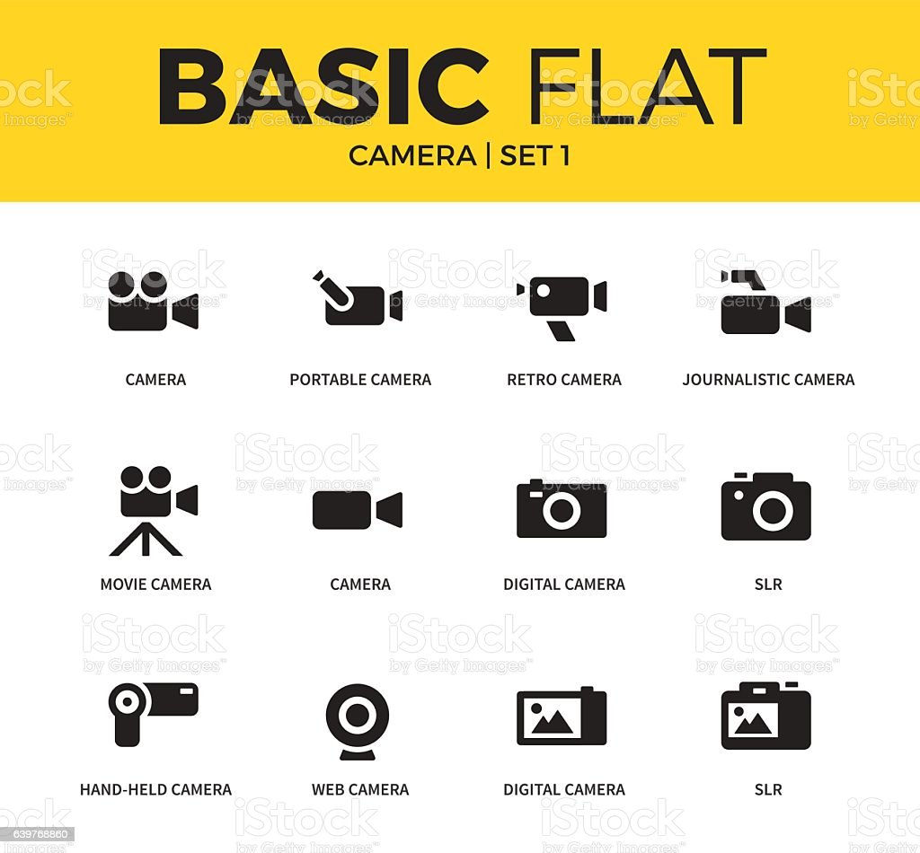 Basic set of Camera icons vector art illustration