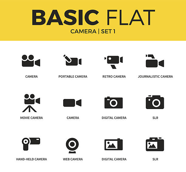 Basic set of Camera icons vector art illustration