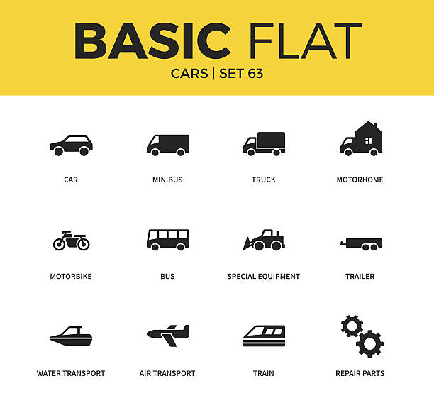 Basic set of car icons vector art illustration