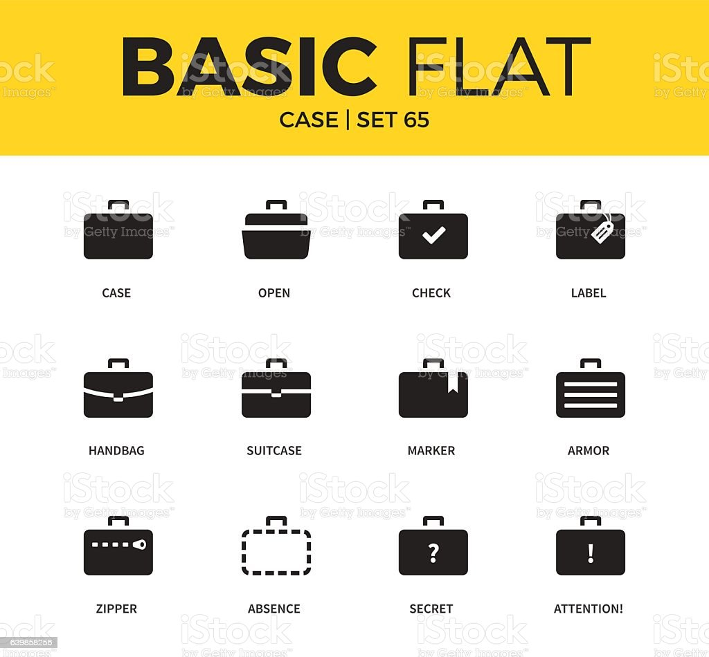 Basic set of case icons vector art illustration