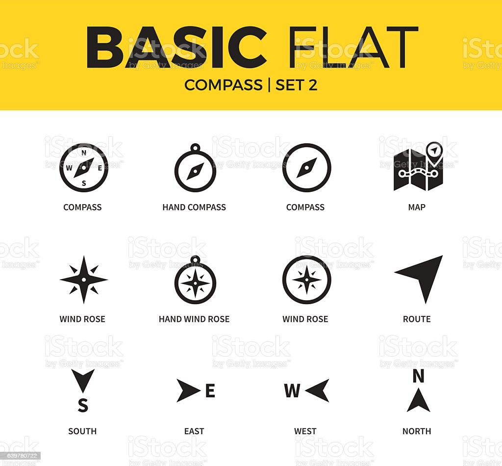 Basic set of compass icons vector art illustration