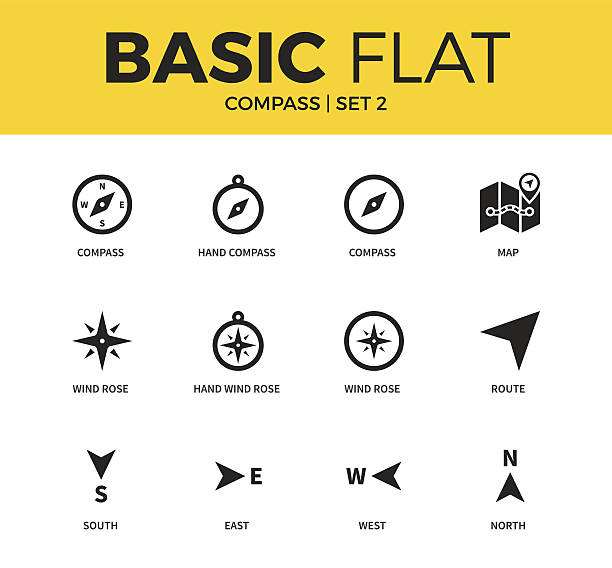 Basic set of compass icons - Illustration vectorielle