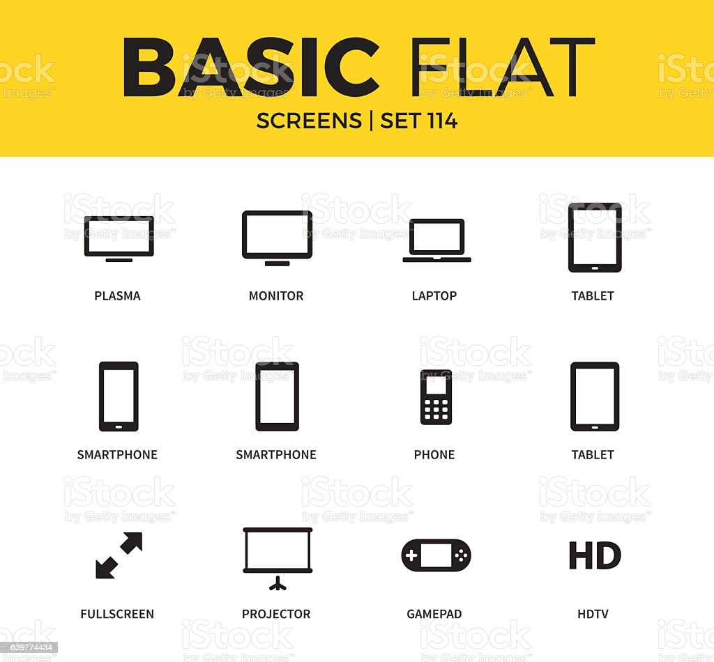 Basic set of Device screen icons vector art illustration