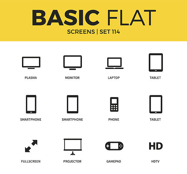basic set of device screen icons - tablet stock illustrations, clip art, cartoons, & icons