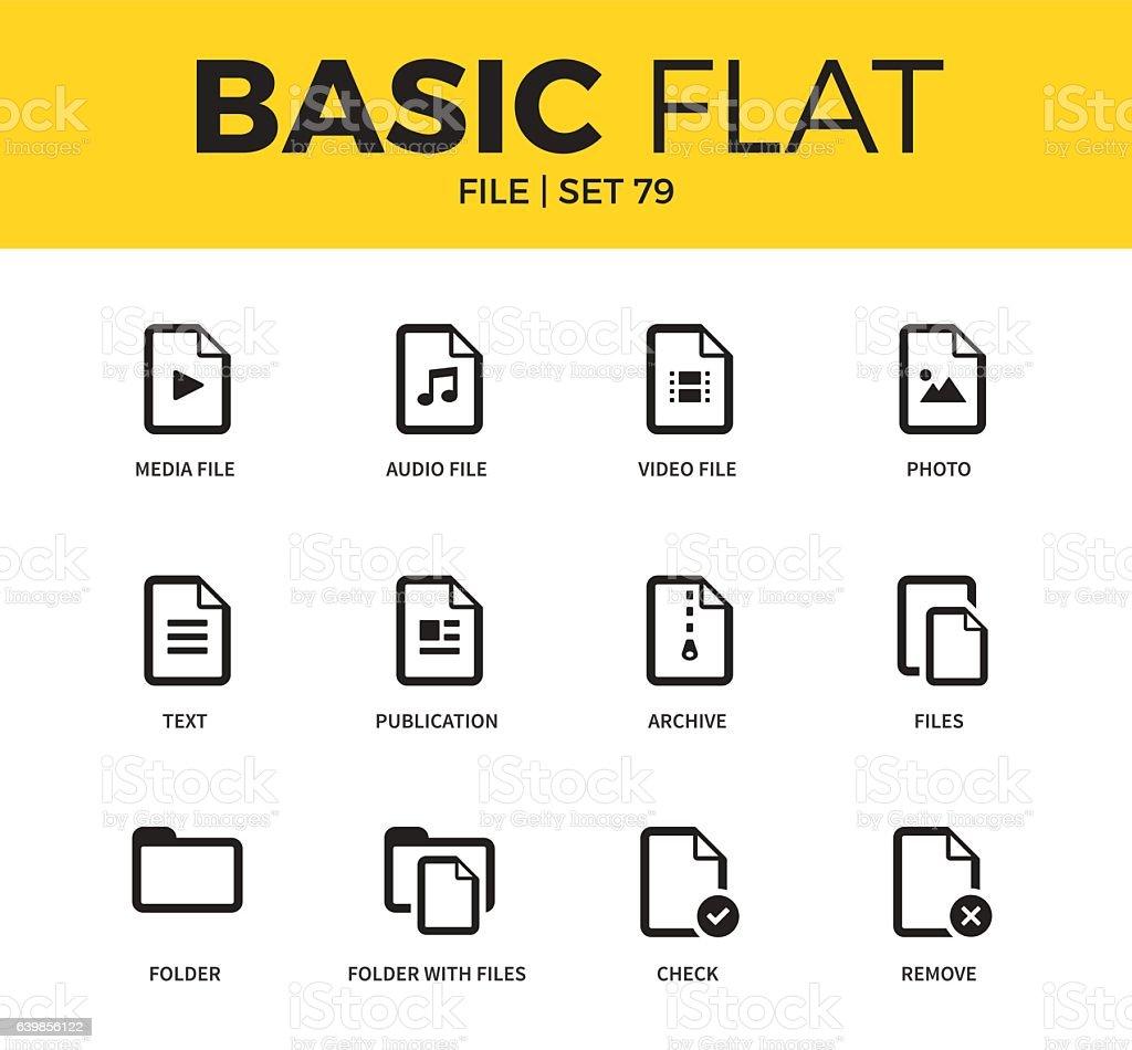 Basic set of file icons vector art illustration