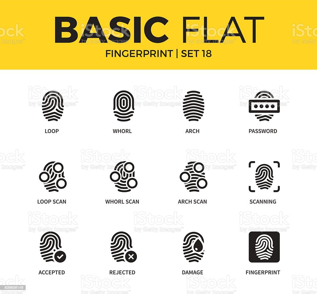 Basic set of Fingerprint icons vector art illustration