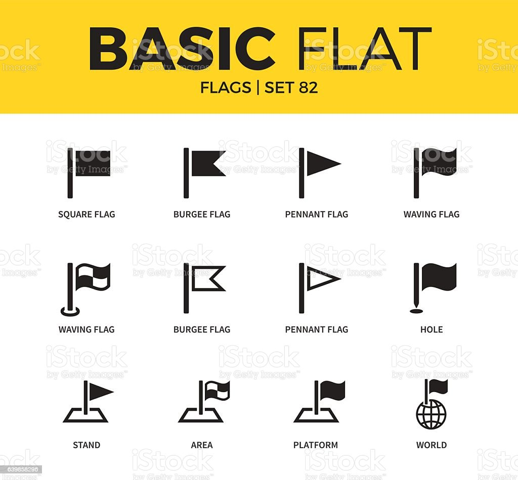 Basic set of flags icons vector art illustration