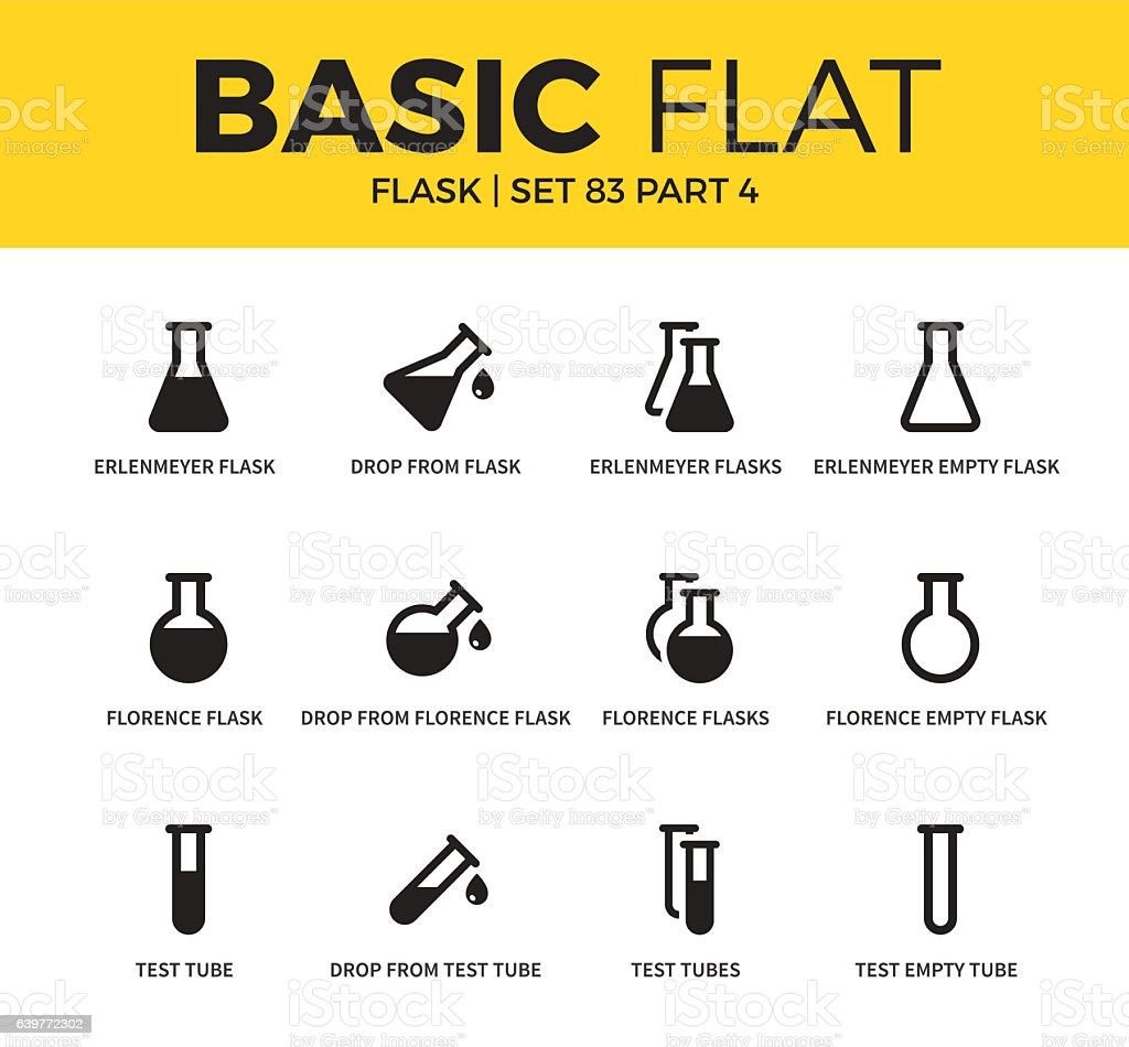 Basic set of flask icons vector art illustration