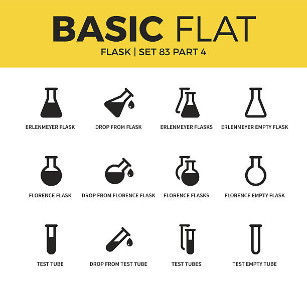 basic set of flask icons - chemikalie stock-grafiken, -clipart, -cartoons und -symbole