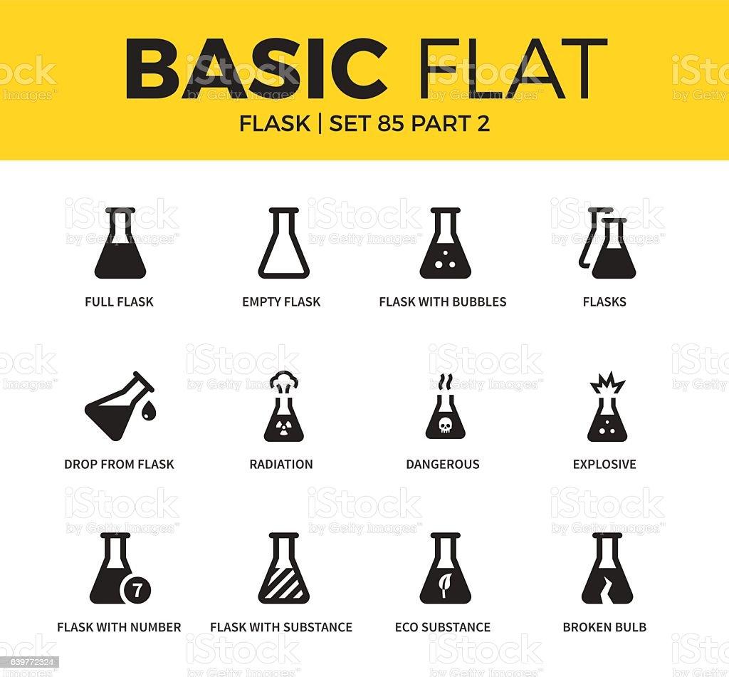 Basic set of flask icons vector art illustration