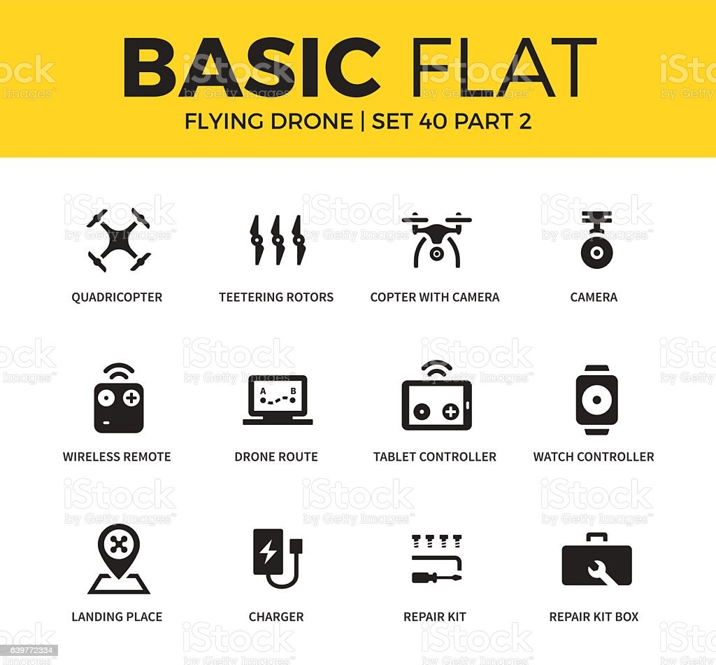 Basic Set Of Flying Drone Icons Royalty Free Stock