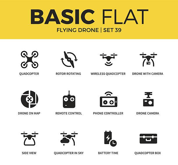 ilustrações de stock, clip art, desenhos animados e ícones de basic set of flying drone icons - drone