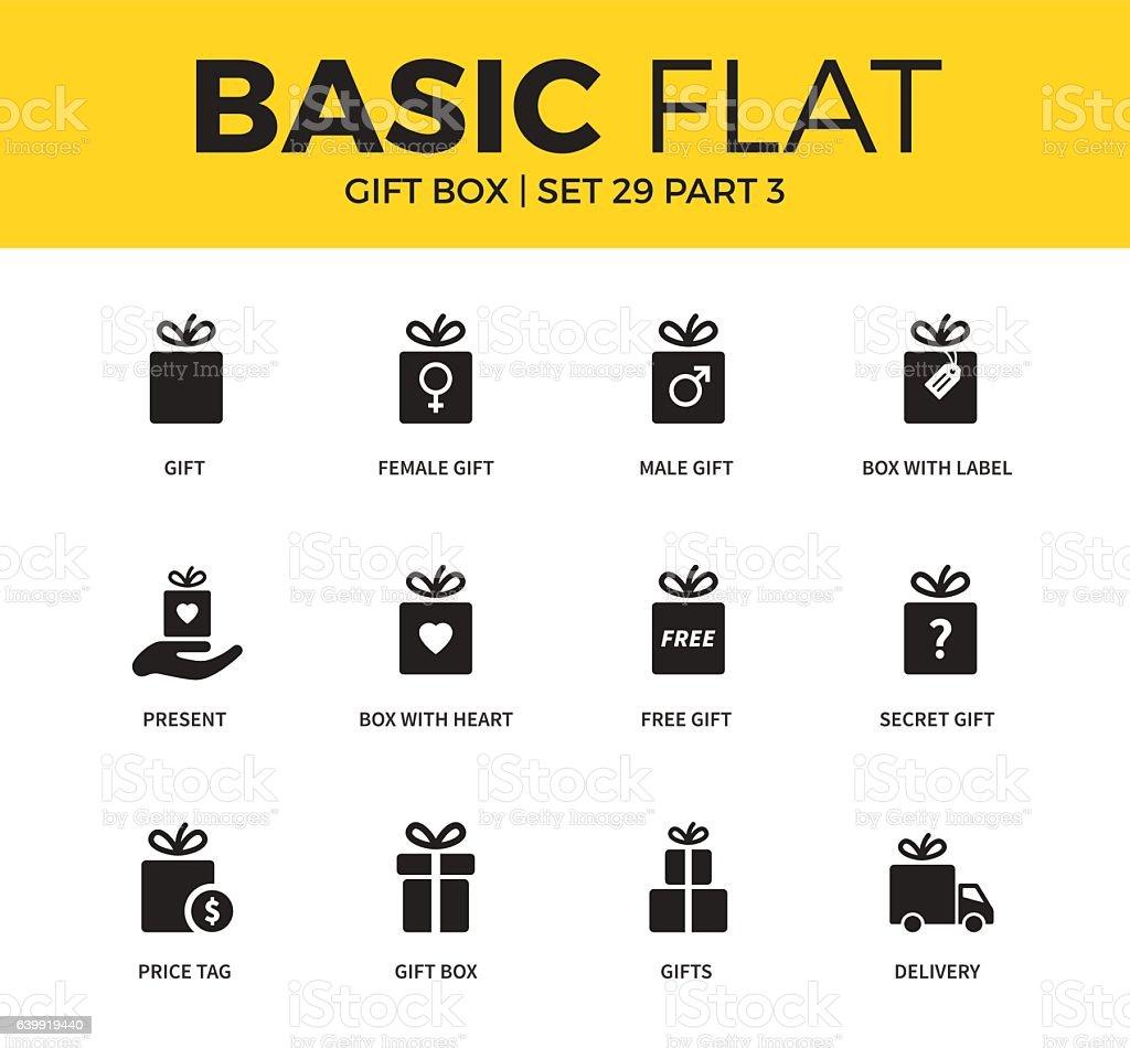 Basic set of Gift box icons vector art illustration