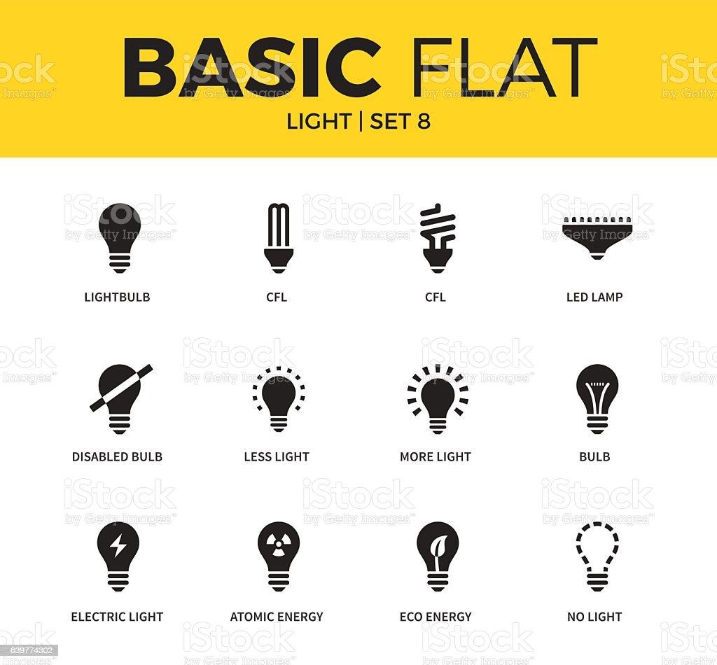 Basic set of light icons - ilustración de arte vectorial