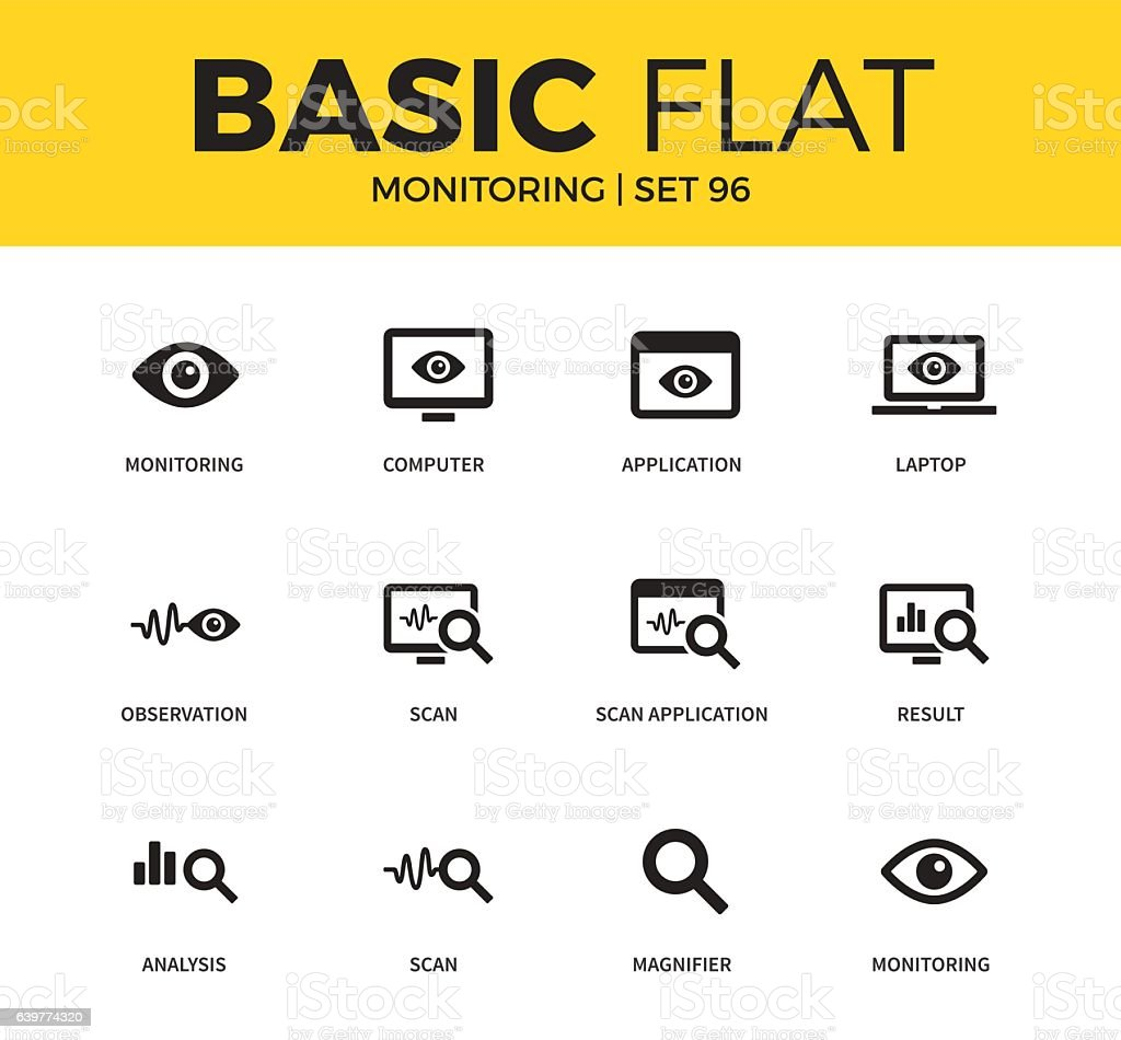 Basic set of Monitoring icons vector art illustration