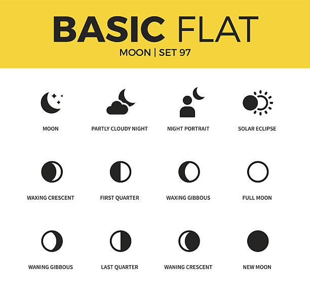 illustrazioni stock, clip art, cartoni animati e icone di tendenza di set base di icone lunari - luna gibbosa