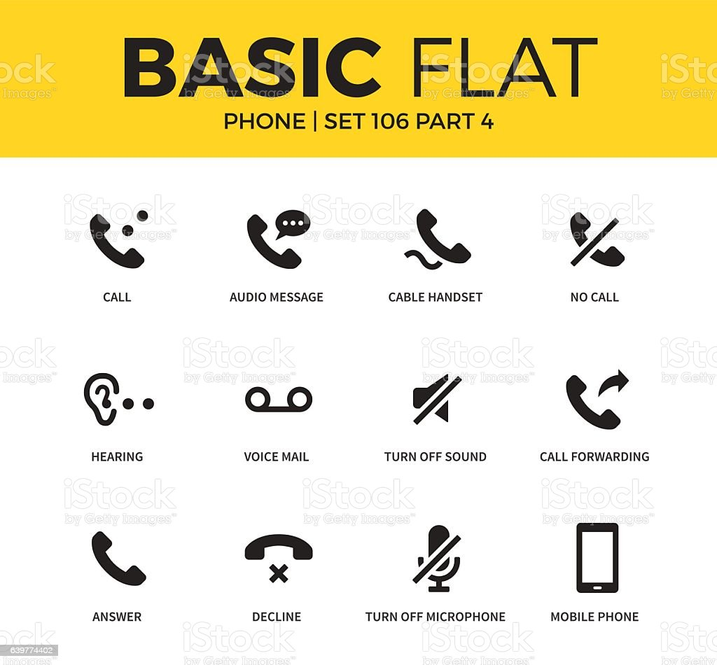 Basic set of phone icons vector art illustration