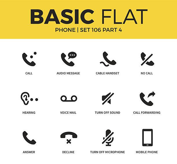 basic set of phone icons - telefone stock-grafiken, -clipart, -cartoons und -symbole