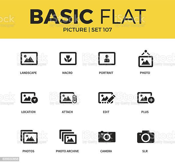 Basic set of picture icons vector id639930858?b=1&k=6&m=639930858&s=612x612&h=2kchm96ehabicy1ndgv8zd9ndwb7k8c9w80fhjqcmgg=