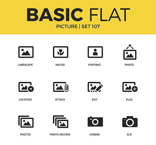 basic set of picture icons - bildkomposition und technik stock-grafiken, -clipart, -cartoons und -symbole