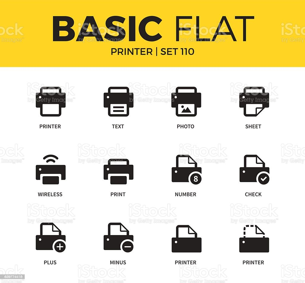 Basic set of Printer icons vector art illustration