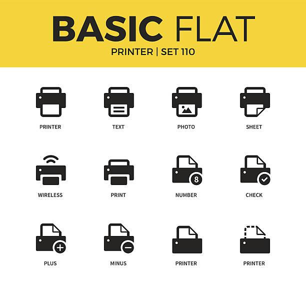 Basic set of Printer icons vector art illustration