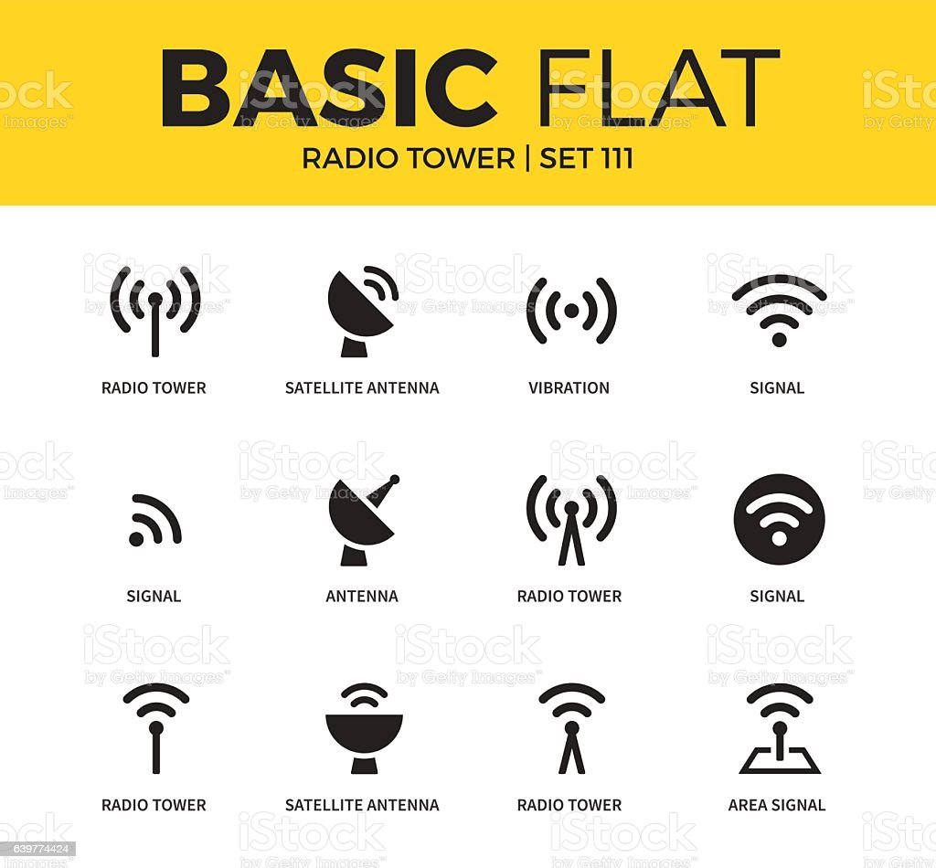 Basic set of Radio tower icons Basic set of satellite antenna, vibration and signal icons. Modern flat pictogram collection. Vector material design concept, web symbols and logo concept. Broadcasting stock vector