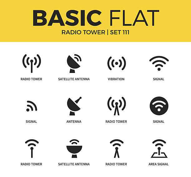Basic set of Radio tower icons Basic set of satellite antenna, vibration and signal icons. Modern flat pictogram collection. Vector material design concept, web symbols and logo concept. repeater tower stock illustrations