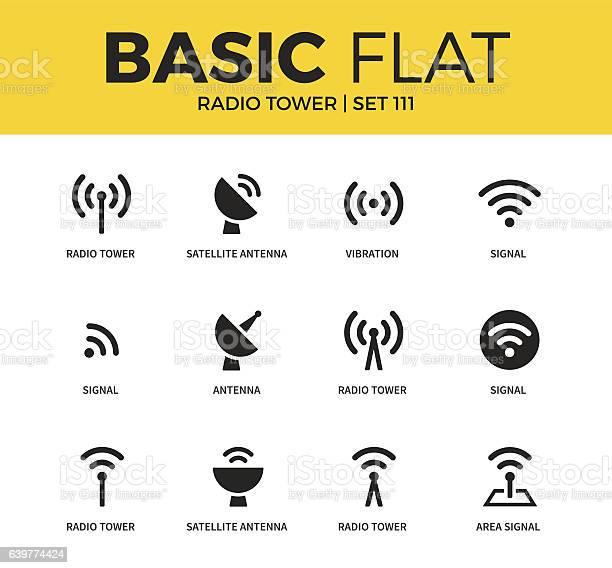 Basic Set Of Radio Tower Icons Stock Illustration - Download Image Now