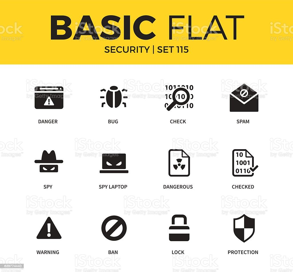 Basic set of Security icons vector art illustration