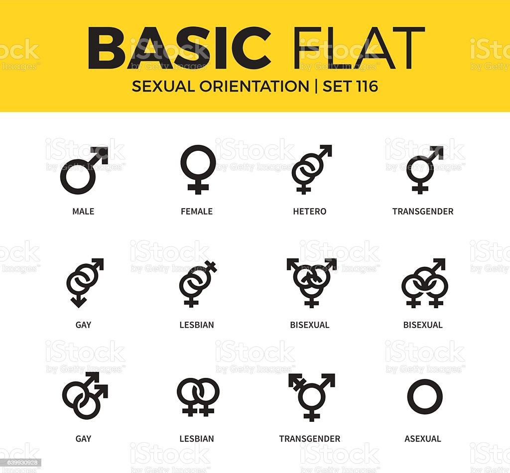 Basic set of Sexual orientation icons vector art illustration