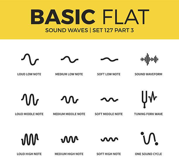 basic set of sound waves icons - sound wave grafiken stock-grafiken, -clipart, -cartoons und -symbole