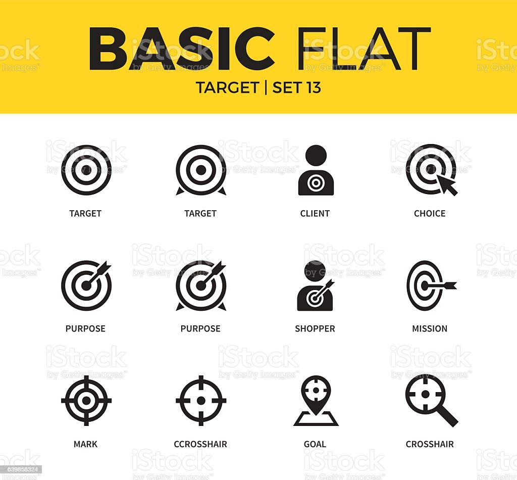 Basic set of Target icons vector art illustration