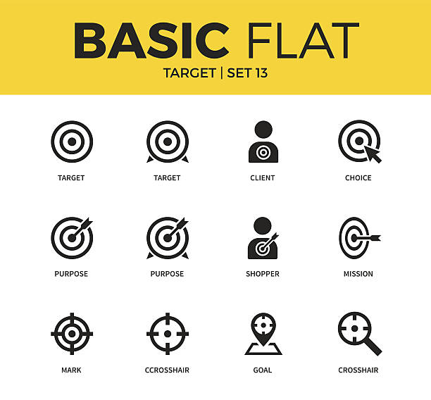 Basic set of Target icons vector art illustration