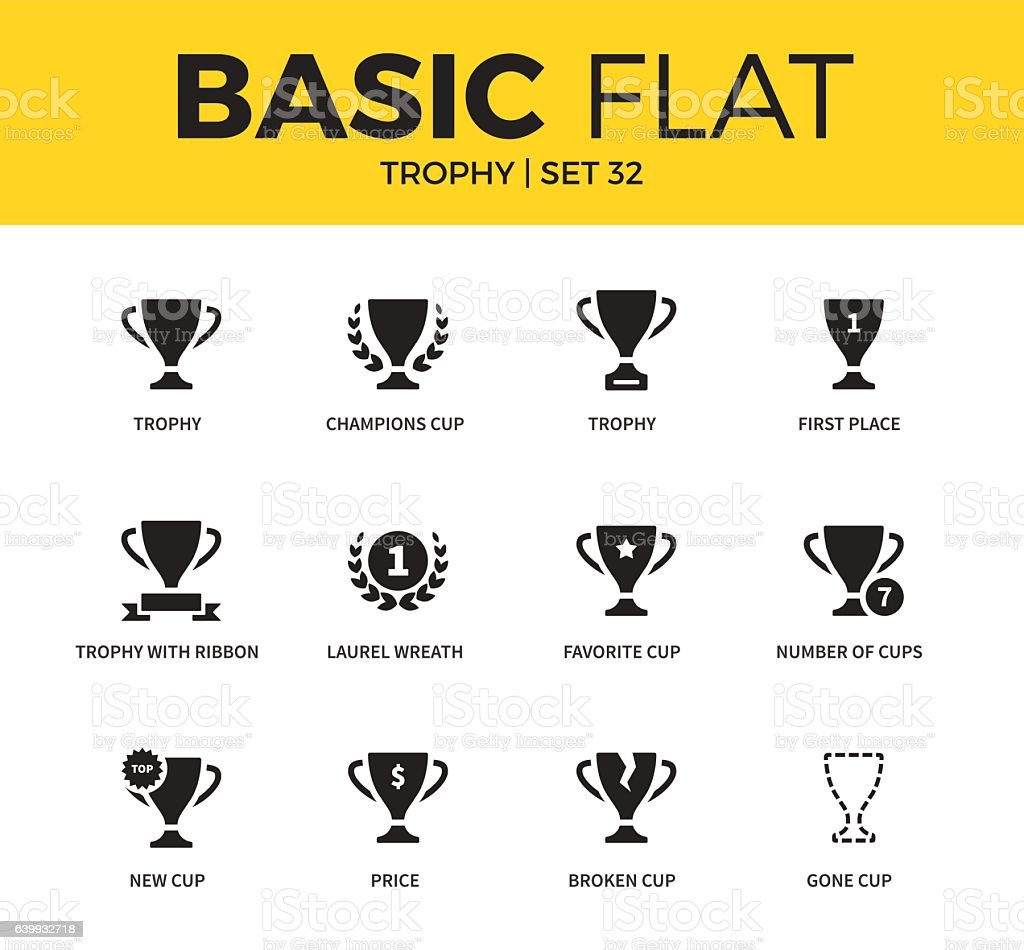 Basic set of Trophy icons vector art illustration