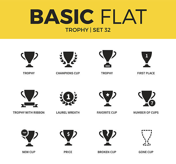 Basic set of Trophy icons vector art illustration