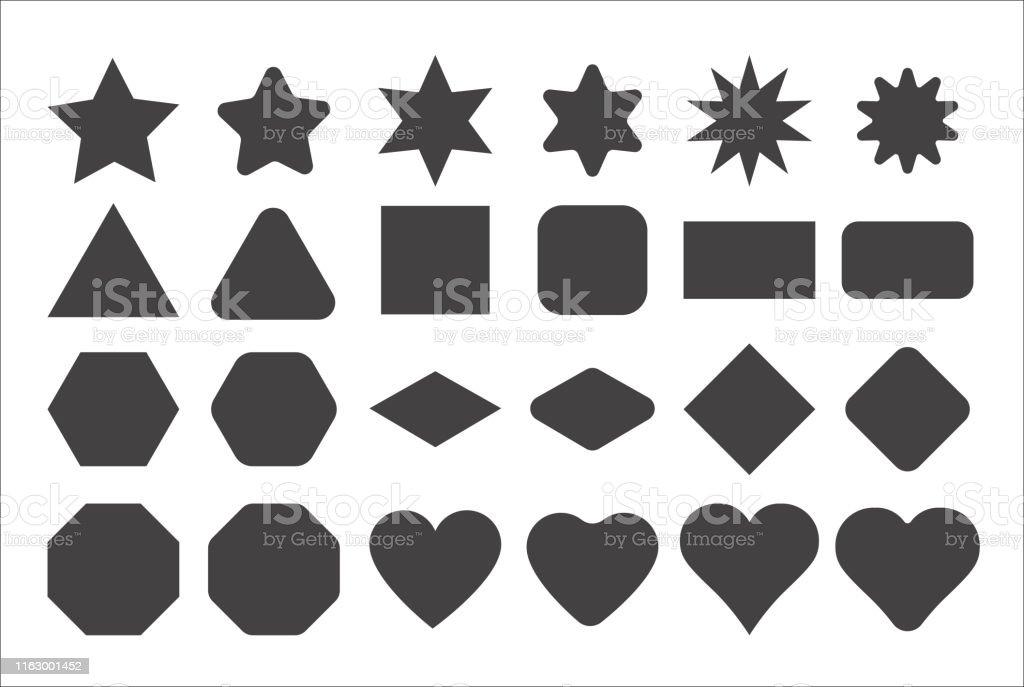Basic shape elements with sharp and rounded edges vector set. Basic shape elements with sharp and rounded edges vector set. Star Shape stock vector