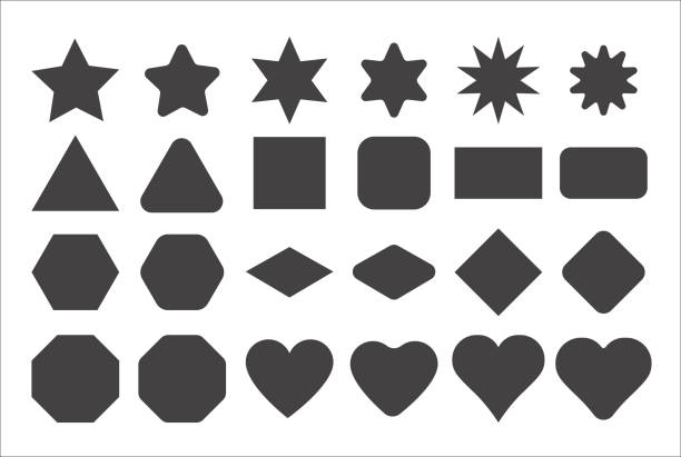 illustrazioni stock, clip art, cartoni animati e icone di tendenza di basic shape elements with sharp and rounded edges vector set. - stelle